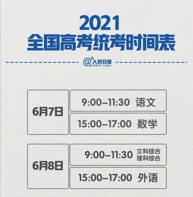 20多省份2021年高考时间安排出炉,17省两天,湖北三天