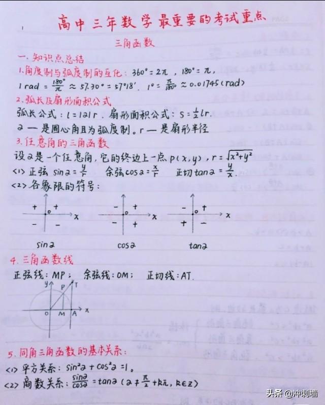 高考数学考试重点笔记梳理